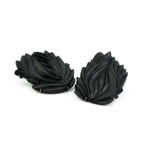 THE DIALOGUE BETWEEN PAST, PRESENT AND FUTURE  Contemporary asymmetric hand-carved stud earrings