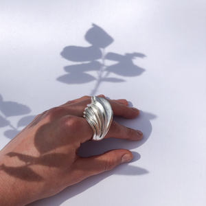 Statement ring designed for the index finger, but fits beautifully on any other. Bold sculptural design.   This ring is one of a kind and would fit best finger-sized P-O (18-17.5).