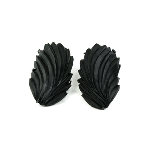 THE DIALOGUE BETWEEN PAST, PRESENT AND FUTURE Handcarved ebony earrings