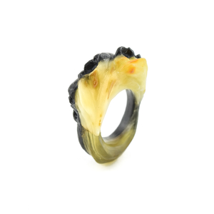 THE DIALOGUE BETWEEN PAST, PRESENT AND FUTURE  Contemporary amber ring
