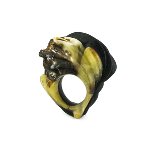 THE DIALOGUE BETWEEN PAST, PRESENT AND FUTURE  Contemporary hand-carved ebony and amber statement ring